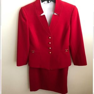 Red Tahari Skirt Suit